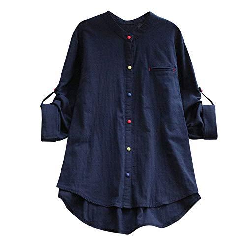 Damen Lässige Retro-Baumwolle und Leinen Knopf Lange Tops Bluse Lose Lange Ärmel Mini Hemd Kleid (44, X-top-Marine) ()