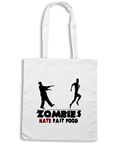 T-Shirtshock - Borsa Shopping TZOM0003 funny zombies white Bianco