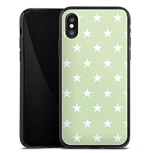 Apple iPhone X Silikon Hülle Case Schutzhülle Sternchen Muster Polka Silikon Case schwarz