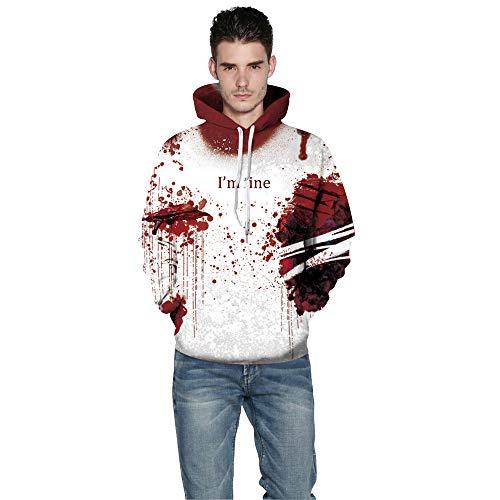 TEELONG Kostüm Herren Freizeit Halloween Frauen Männer Blut 3D-Druck Lange Ärmel Hoodie Sweatshirt Pullover Top Langarmshirts T-Shirts Sweatshirt Playsuit Streetwear Kapuzenpullover(M, Rot)