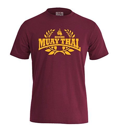 "T-Shirt ""MUAY THAI BOXING"" Hooligan Fighting MMA Boxen Sport Bordeaux/Gelb"