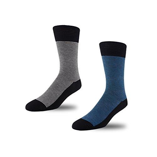 Image of STÓR Men's Socks (2-Pack) Bamboo Antibacterial Designer Calf Socks Breathable Soft Socks Active Antifungal, Mini Stripe x 2 (Medium (39-42EU / 6-8UK), Grey/Blue)