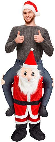 Vivo Technologies EFG1155 Trage Santa Claus Kostüm Weihnachtsmann Reiten Me Piggyback Outfit, Farben -