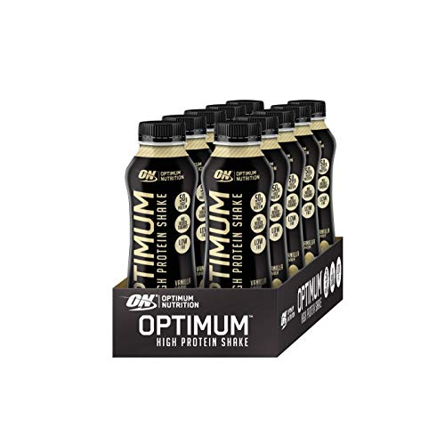 Optimum Nutrition High Protein Shake (Ready To Drink, 50g Eiweiß, 21g Kohlenhydrate und wenig Fett) Vanilla, 1er Pack (10 x 500 ml) - Vanille Fett