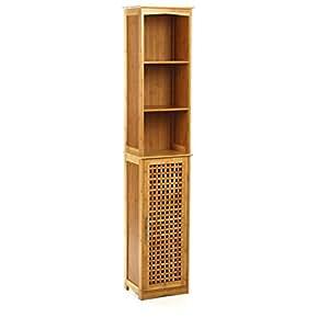 Badezimmer Hochschrank aus Bambus - 1 Tür und 2 Regalbretter und 3 offene Fächer - moderner und ...