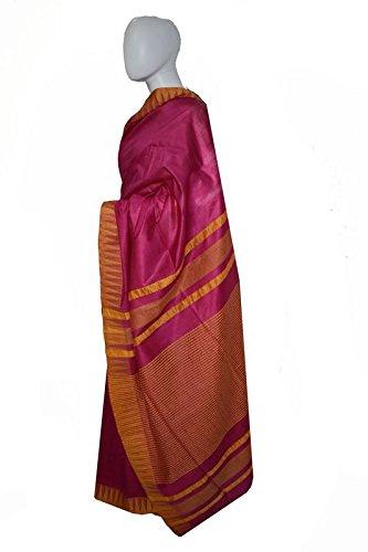 H S Handloom Raw Silk Saree(NA_Pink_Free Size)