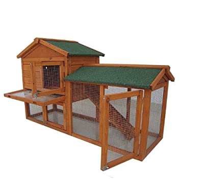 BUNNY BUSINESS The Grove Double Decker Rabbit/ Guinea Pig Hutch and Run, Spearmint