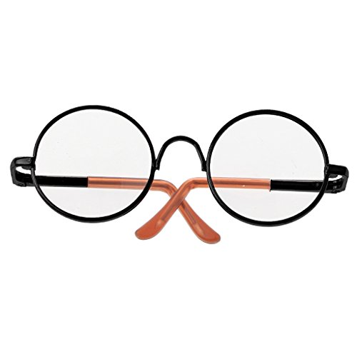 Süße Puppen Grille Glass mit Rund Brillengestell Für 1/6 Blythe Puppen Kinder Lustiges Spielzeug - Schwarz