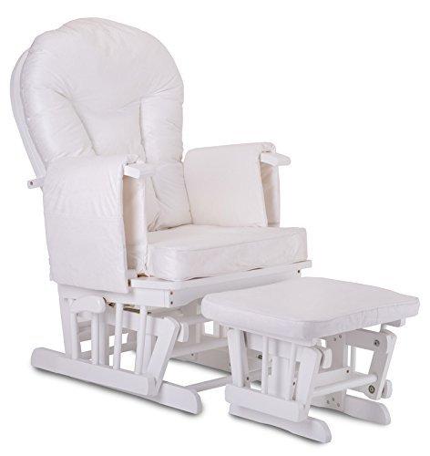 *Stodomed Glider Stillstuhl Weiß-Beige, Relaxsessel mit Hocker und Schwingfunktion*