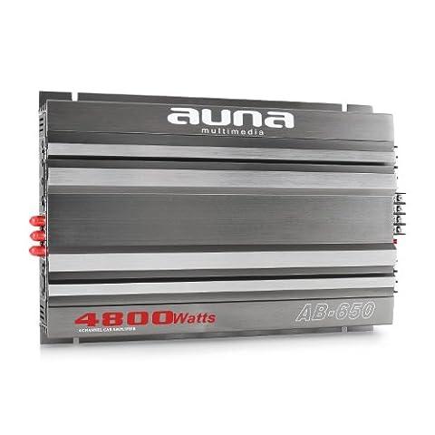 Auna AB-650 Ampli auto tuning voiture sono (6 x 90W RMS, jusqu'à 540 W RMS en mode mono, filtre passe-bas réglable, 6 entrées RCA bas niveau, 3 entrées niveau bas, châssis en alu brossé) -