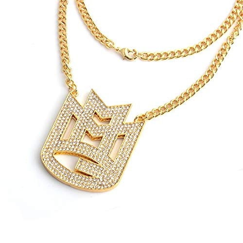 XZZZBXL Damenhalskette Charme Farbe Gold schreiben Halsketten Männer Crystal Lange Kette PendantNecklace männlichen Hip Hop Rock Party Schmuck Geschenk