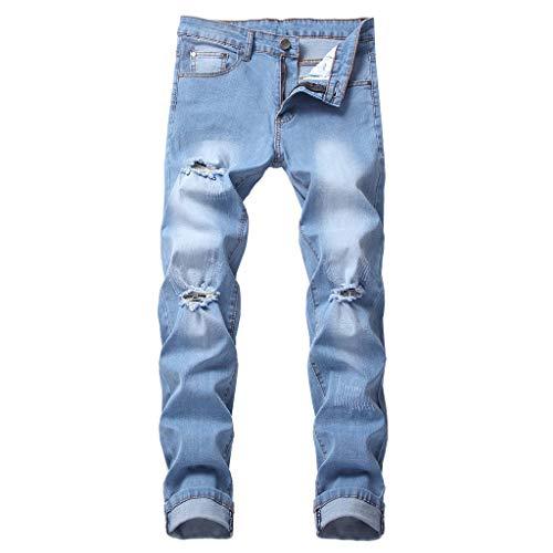 Hahuha Herrenhosen,Men es Fashion Macht alte Persönlichkeit Hollow Jeans Pure Color Pants -