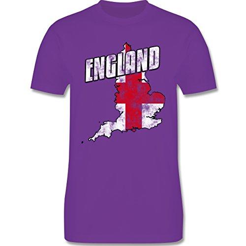 EM 2016 - Frankreich - England Umriss Vintage - Herren Premium T-Shirt Lila
