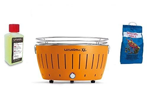 LOTUSGRILL XL New KIT by YESEATIS 2017 - Table Grill XL + Kit d'Allumage Haute Performance Charbon et Gel - Orange