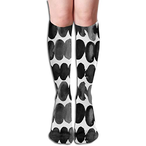 Women's Fancy Design Stocking Abstract Spots Gray Grey Black Dots Watercolor Drops On White Chiff Designs Multi Colorful Patterned Knee High Socks 19.6Inchs