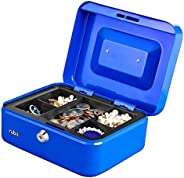 Rubik Medium Cash Box with Tray and Lock Durable Portable Steel Money Box (20x16x9cm)