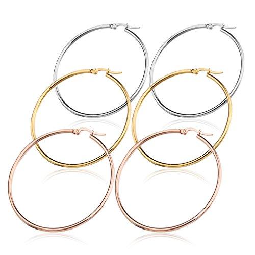 Jstyle 3 Paare Creolen aus Edelstahl Ohrringe Ohrstecker 50mm Herren Damen Groß Rosegold Farbgeld silberweiß Modeschmuck für Frauen