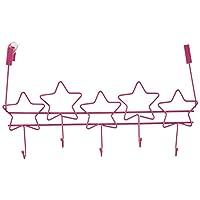 Southern Homewares Over The Door 5-Hook Hanger Storage Organizer Rack, Pink Stars