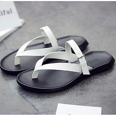 Slippers & amp da uomo;Sandali PU comfort Primavera Casual Nero Bianco piatti sandali US6-6.5 / EU38 / UK5-5.5 / CN38