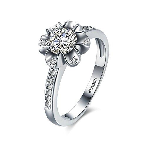 Gnzoe Schmuck Versilbert Damen Ringe Design Blumen mit CZ Silber Gr.52 (Besten Kostüme Edc)