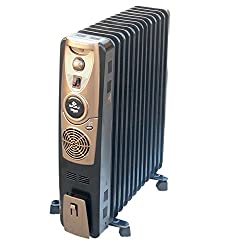 Bajaj Majesty RH 11F Plus Oil Filled Room Heater with Fan (Black)