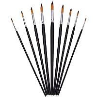 NUOLUX Set de pinceles de punta redonda de artista de madera 9 piezas para pintura acrílica de pintura al óleo (negro)
