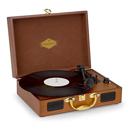 Auna Nostalgy Peggy Sue • Platine Vinyle rétro • 2 Enceintes stéréo intégrées • poignée • numérisation de vinyles par Connexion USB • Convient à 3 Tailles de vinyles • LP USB AUX • Aspect Bois & Or