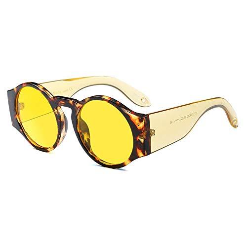 ZHANGNING0706 SonnenbrillenRunde Dicke Sonnenbrille Weiblicher Kreis Rot Gelb Transparent Runde Sonnenbrille Neujahrsgeschenk, D