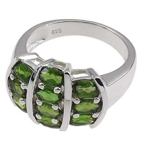 Damen Ring echt 925 Sterling Silber rhodiniert mit Chromdiopsid grün 17,8mm / 56mm (Solitär-diamant-ring 2ct)