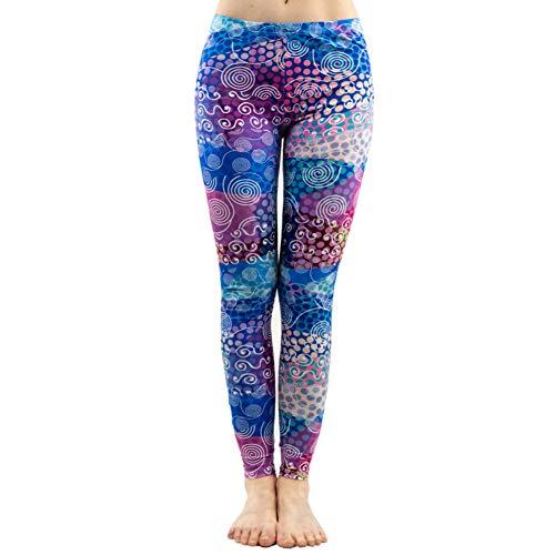 PFJWFE Mode Frauen Bunte Dot Print Nähte Muster Leggings Fitness Stretch Schlank Böden Sexy Workout Elastizität Hosen Dot Print Legging