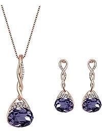 Cosanter 1Set Mezcla Pendientes y Collares de Diseño de Gotitas de Agua para Mujeres de la Joyería Accesorios Color Púrpura