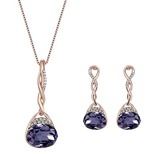 Hosaire Necklace Earrings Diamond Water droplets Elegant Women Jewellery Set of Crystal Pendant Necklace+Earrings