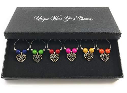 Set von 6BRIGHT Farbe Antik von Libby 's Market Place Weinglas-Charms handgefertigt Herzen ~ von UK Verkäufer (Antike Perle Ring)