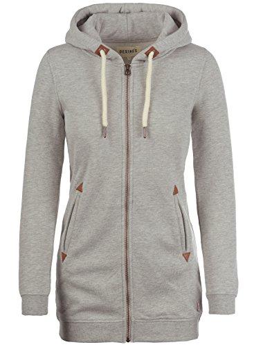 DESIRES Vicky Straight-Zip Damen Lange Sweatjacke Kapuzenjacke Sweatshirtjacke Mit Kapuze Und Fleece-Innenseite, Größe:XL, Farbe:Light Grey Melange (8242)
