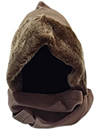 Ladies Winter Thermal Fleece Hood with Fake Fur And Wrap Around Scarf dark brown