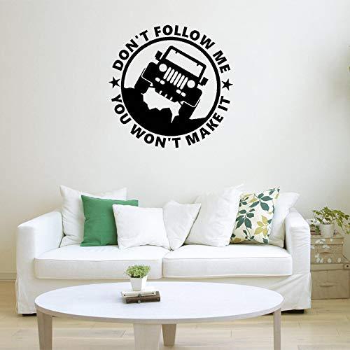 yaoxingfu Wandtattoo Cooles Auto Vinyl Wandaufkleber Zitate Folgen Mir Nicht Du wirst es Nicht schaffen Modernes Design Schlafzimmer Kunst Wandbild DIY schwarz 57x57cm -