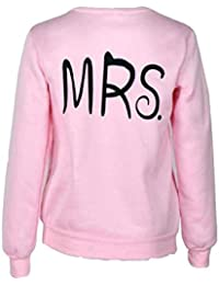 Yistu 1PC Hombres y mujeres MR & MRS manga larga pareja camisas jersey