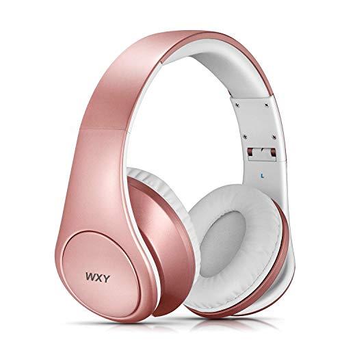 WXY Wireless Kopfhörer, Bluetooth Wireless Kopfhörer mit Deep Bass, faltbar und leicht, ideal für Handy/TV/PC und Reisen (Rose Gold)