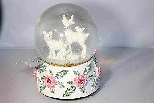 Gisela Graham Schneekugel mit weißen Tieren, mit roter Rosenbasis -
