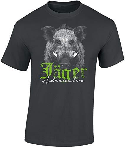 Mann Jäger Kostüm - T-Shirt: Jäger Adrenalin - Wildschwein - Geschenk für Jäger - Jägerbekleidung - Jagdkleidung Männer - Waidmannsheil - Wild-Sau - Jagd - Eber - Schwein - Jägerin - Schwarz - Hunter - Lustig (XXL)