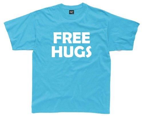 FREE HUGS Mens Funny Printed T-Shirt (L)