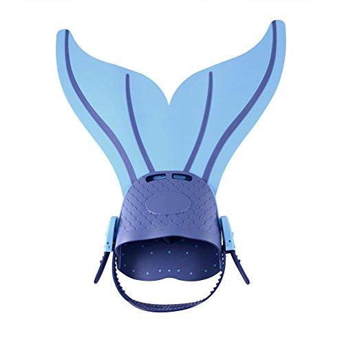 yi Go Mermaid aletas natación de la Sirenita (se puede afinar aletas buceo Thrust Swim pie recomendado por los niños de los pies Web, azul