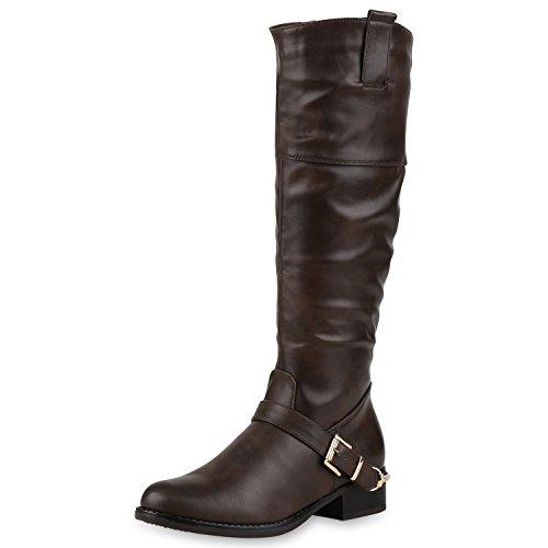Damen Reiterstiefel Schnallen Metallic Leder-Optik Stiefel Schuhe Braun 36