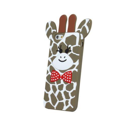 BACK CASE 3D Giraffe 2 Für Apple iPhone 5 iPhone 5S iPhone 5G iPhone 5SE Silikonhülle Hülle Etui Flip Cover Silikon Tasche (rosa / pink) braun / brown