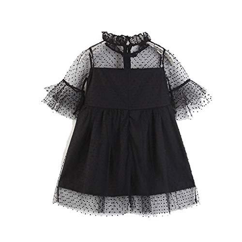 FRAUIT Gotischer Adel Festliches Kleid Damen Kinder Infant Kid Girls Solid Dot Net Garn lässig Princess Kleid Kleidung Eltern-Kind-Anzuganzug Abendkleid Mutter/Tochter -