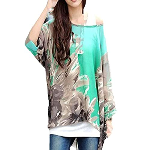 Bohemian Floral Batwing Sleeve Plus Chiffon Blouse Womens Loose Off  Shoulder T-Shirt Tops Green 14-16. BetterMore