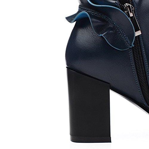 Salto Senhoras Azuis Botas Puramente De Tornozelo Macio Zíper De Alta Alto De Voguezone009 Material qRxUEqF