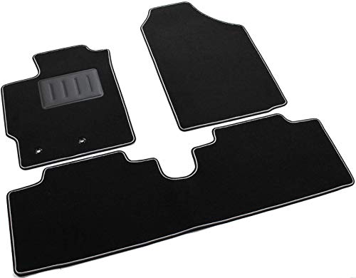 Il Tappeto Auto SPRINT04605 Tapis antidérapants en moquette noire, bord bicolore, protège-talon renforcé en caoutchouc