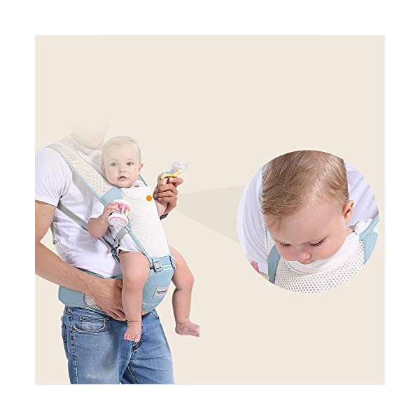 LITIAN Four Seasons Universal Baby Carrier Waist Stool Front Hug Multifunctional Baby Seat Summer Breathable light grey  ★ Double-layer high-elastic mesh design, cool and breathable, breathable strap. ★ Protect the bones from stress. Stressed on the shoulders, waist, abdomen, three points of balanced force, prevent Mommy spine strain, easy and labor-saving. ★ Enclosed soft skin-friendly bib, avoid rubbing the baby's chin and neck, reducing harmful bacteria. 4