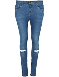 Ladies Knee Rips Holes Stretchy Fitted Slim Fit Jeans Regular Ankle Length Womens Sexy Jeggings Casual Trouser Plus Sizes